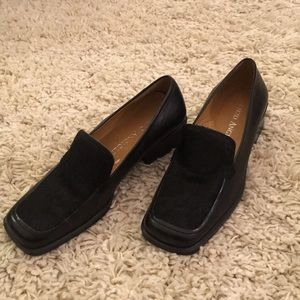 Enzo pony hair and leather loafers with heel